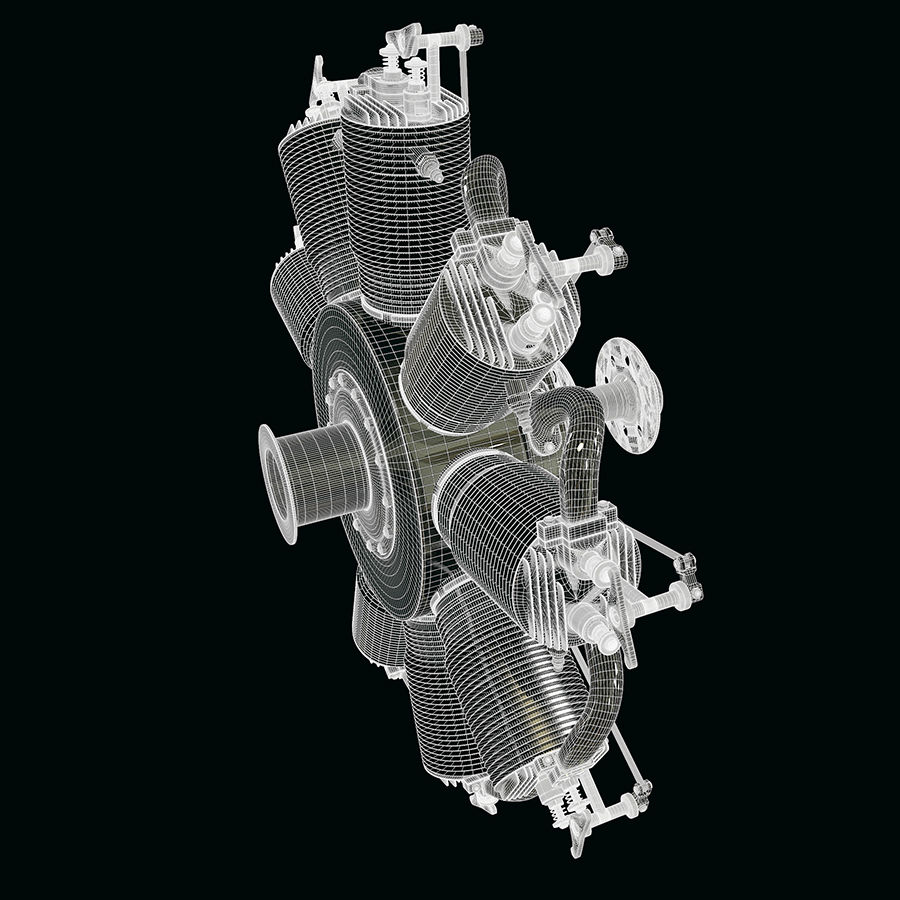Radial engine royalty-free 3d model - Preview no. 8