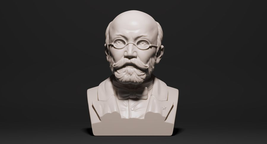 Zamenhof Bust royalty-free 3d model - Preview no. 2