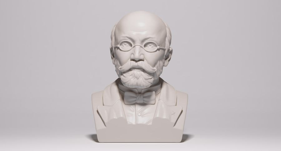 Zamenhof Bust royalty-free 3d model - Preview no. 3