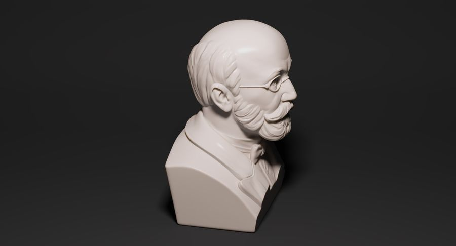 Zamenhof Bust royalty-free 3d model - Preview no. 5