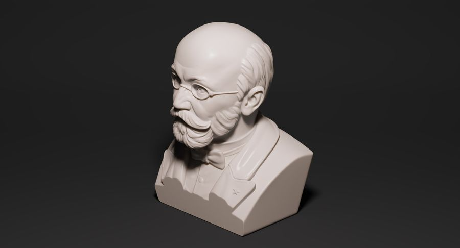 Zamenhof Bust royalty-free 3d model - Preview no. 4