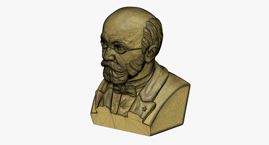 Zamenhof Bust royalty-free 3d model - Preview no. 8