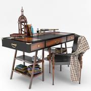 Authentic Models Navigators Table & Campaign Accent Chair set 3d model