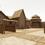 Pueblo de madera modelo 3d