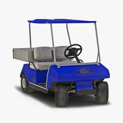 Utility Golf Cart Blue Rigged 3D Model 3d model