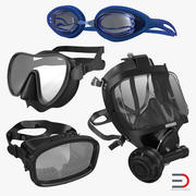 Scuba Masks Collection 3 3d model
