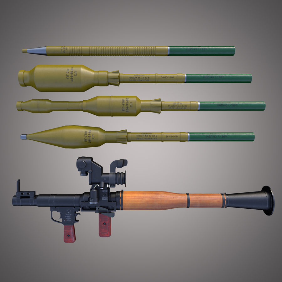 RPG-7 Rocket Launcher royalty-free 3d model - Preview no. 2
