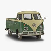 Volkswagen Type-2 Single Cab Pick-up Eenvoudig interieur Groen 3D-model 3d model