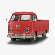 Volkswagen Type 2 Single Cab Pick-Up Eenvoudig interieur Rood 3D-model 3d model