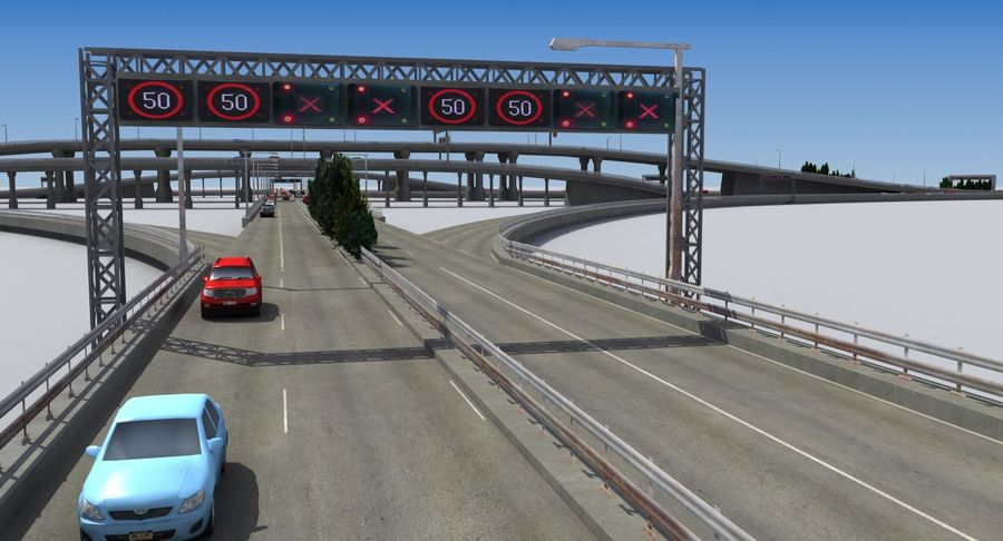Freeway Intersection royalty-free 3d model - Preview no. 11