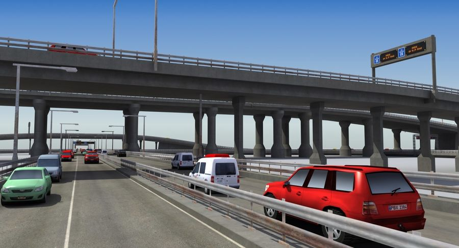 Freeway Intersection royalty-free 3d model - Preview no. 12