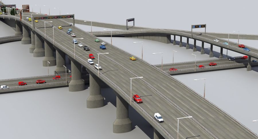 Freeway Intersection royalty-free 3d model - Preview no. 3