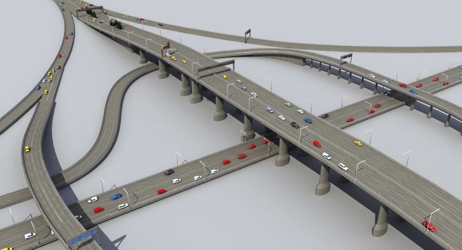 Freeway Intersection royalty-free 3d model - Preview no. 7