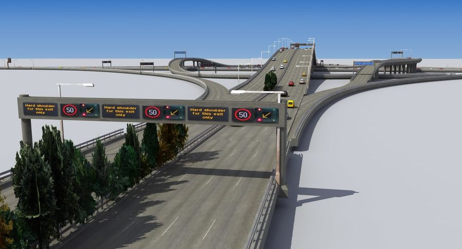 Freeway Intersection royalty-free 3d model - Preview no. 1