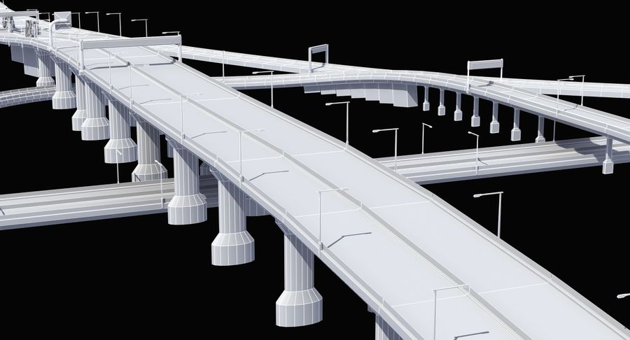Freeway Intersection royalty-free 3d model - Preview no. 10