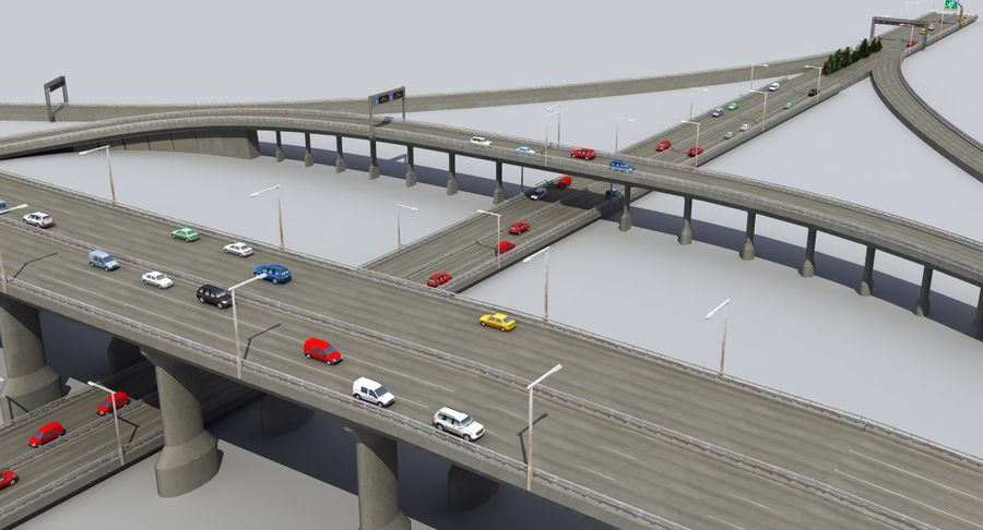 Freeway Intersection royalty-free 3d model - Preview no. 5