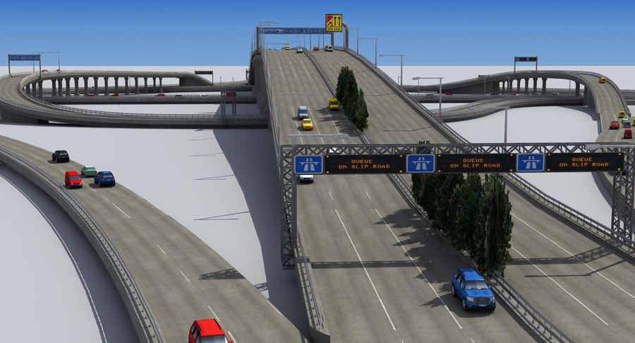 Freeway Intersection royalty-free 3d model - Preview no. 8