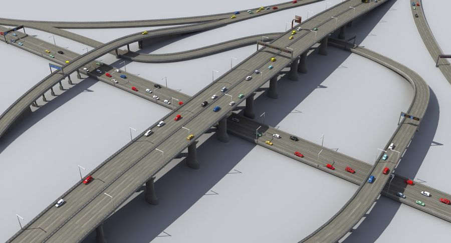 Freeway Intersection royalty-free 3d model - Preview no. 4