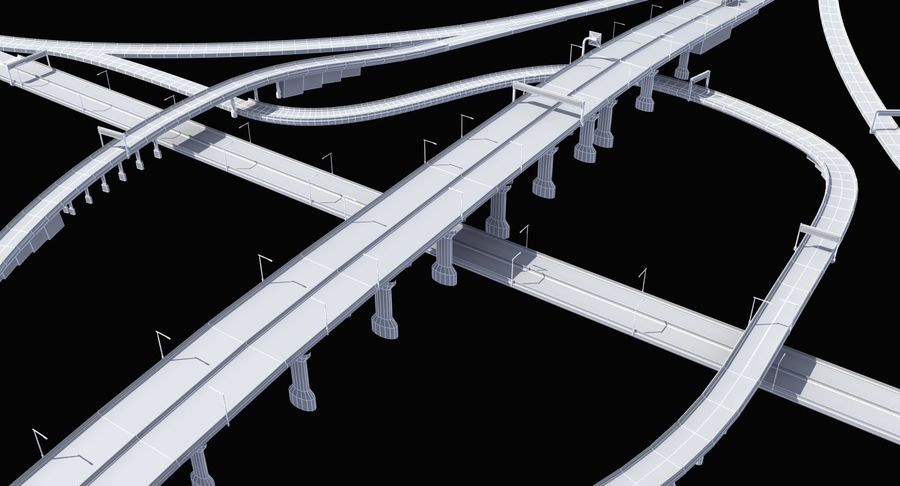 Freeway Intersection royalty-free 3d model - Preview no. 13