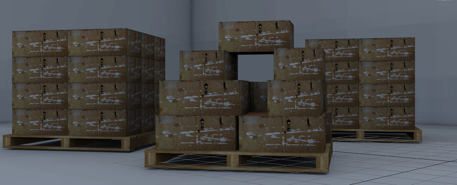 Twee magazijnpallets met dozen royalty-free 3d model - Preview no. 5