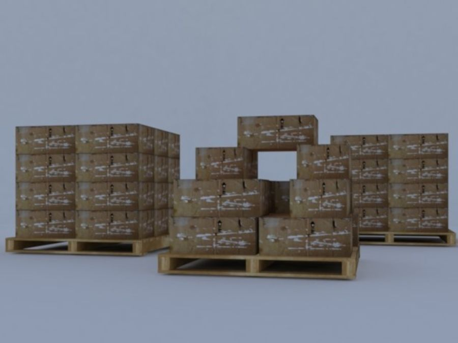 Twee magazijnpallets met dozen royalty-free 3d model - Preview no. 4