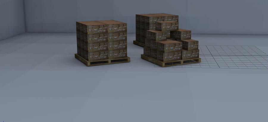 Twee magazijnpallets met dozen royalty-free 3d model - Preview no. 3