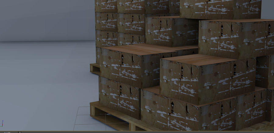 Twee magazijnpallets met dozen royalty-free 3d model - Preview no. 1