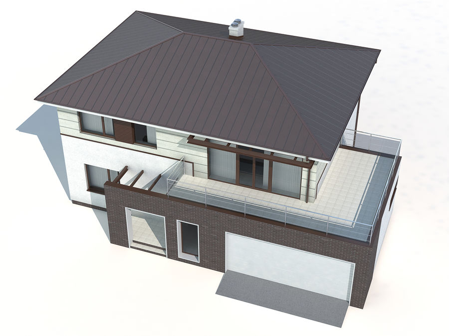 Cottage House royalty-free 3d model - Preview no. 6