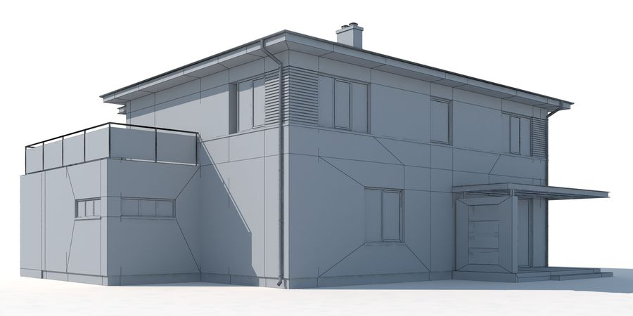 Cottage House royalty-free 3d model - Preview no. 10