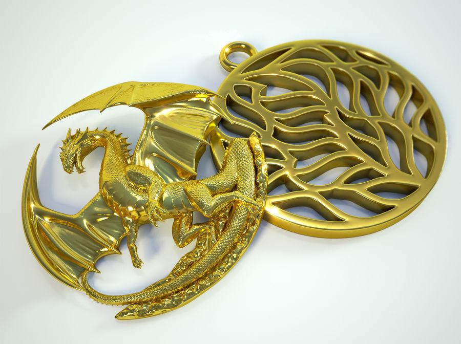 Pingente de dragão (imprimível) royalty-free 3d model - Preview no. 3