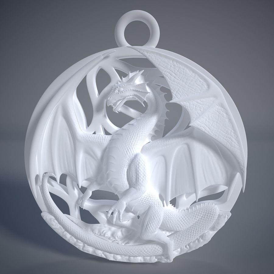 Pingente de dragão (imprimível) royalty-free 3d model - Preview no. 4