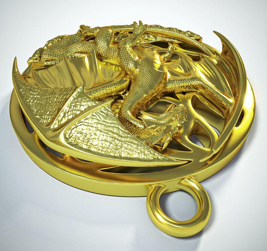 Pingente de dragão (imprimível) royalty-free 3d model - Preview no. 2
