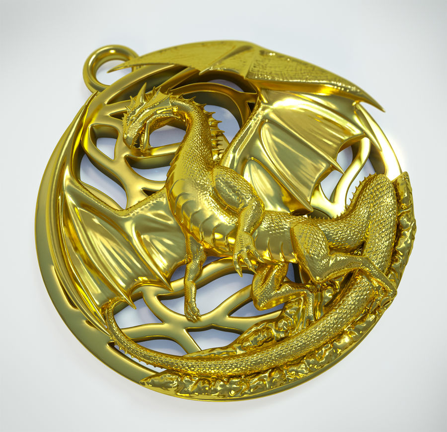 Pingente de dragão (imprimível) royalty-free 3d model - Preview no. 1