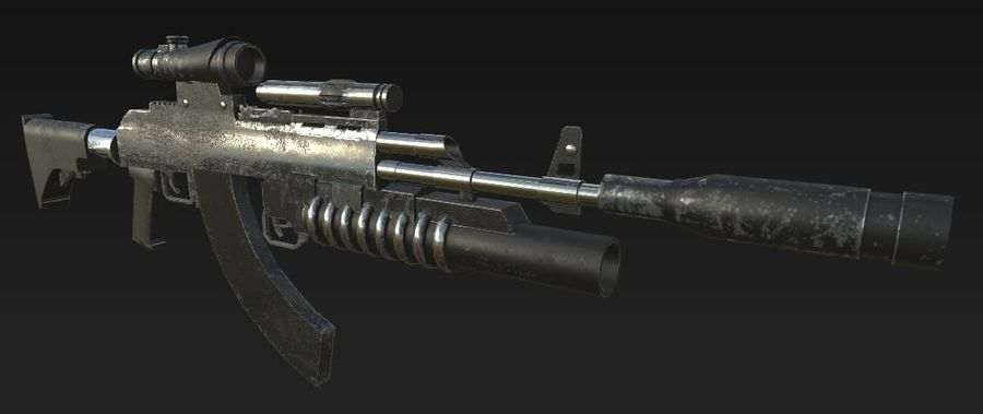 AK-47 royalty-free 3d model - Preview no. 5