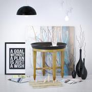 Luna Beistelltisch mit dekorativem Set 3d model