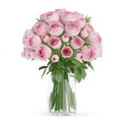Rosa rosor i glasvas 3d model