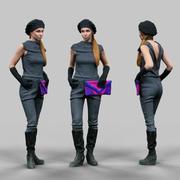 Ragazza futuristica inattiva 3d model