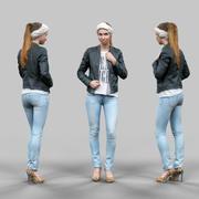 청바지 가죽 재킷과 두건에 귀여운 소녀 3d model
