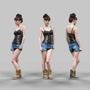 섹시 한 최고 청바지에 소녀와 섹시 포즈 tigerboots 3d model