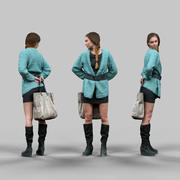 Girl in Fluffy Green Coat 3d model