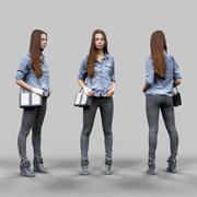 청바지 셔츠와 검은 색 바지를 입고 소녀 3d model