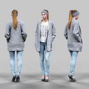 Meisje in jeans en vest 3d model