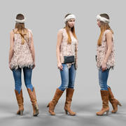 Rapariga com casaco de malha e botas fofas 3d model