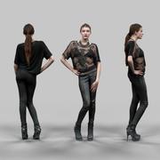 Rockstar Pantolonlu Seksi Kız 3d model