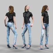 찢어진 청바지 소녀 3d model