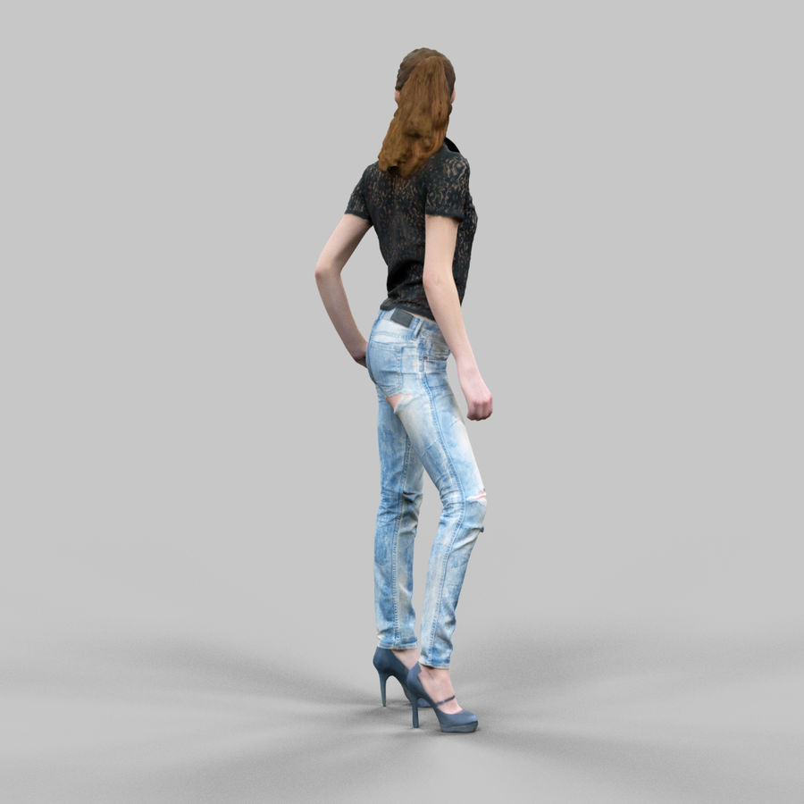 찢어진 청바지 소녀 royalty-free 3d model - Preview no. 3