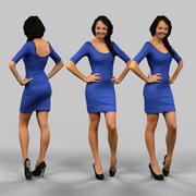 Flicka i blå klänning 3d model