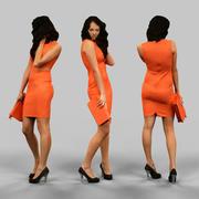 Frau im orangefarbenen Kleid 3d model
