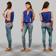 Chica en jeans y chaleco azul modelo 3d