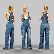 Meisje in jeans salopet 3d model